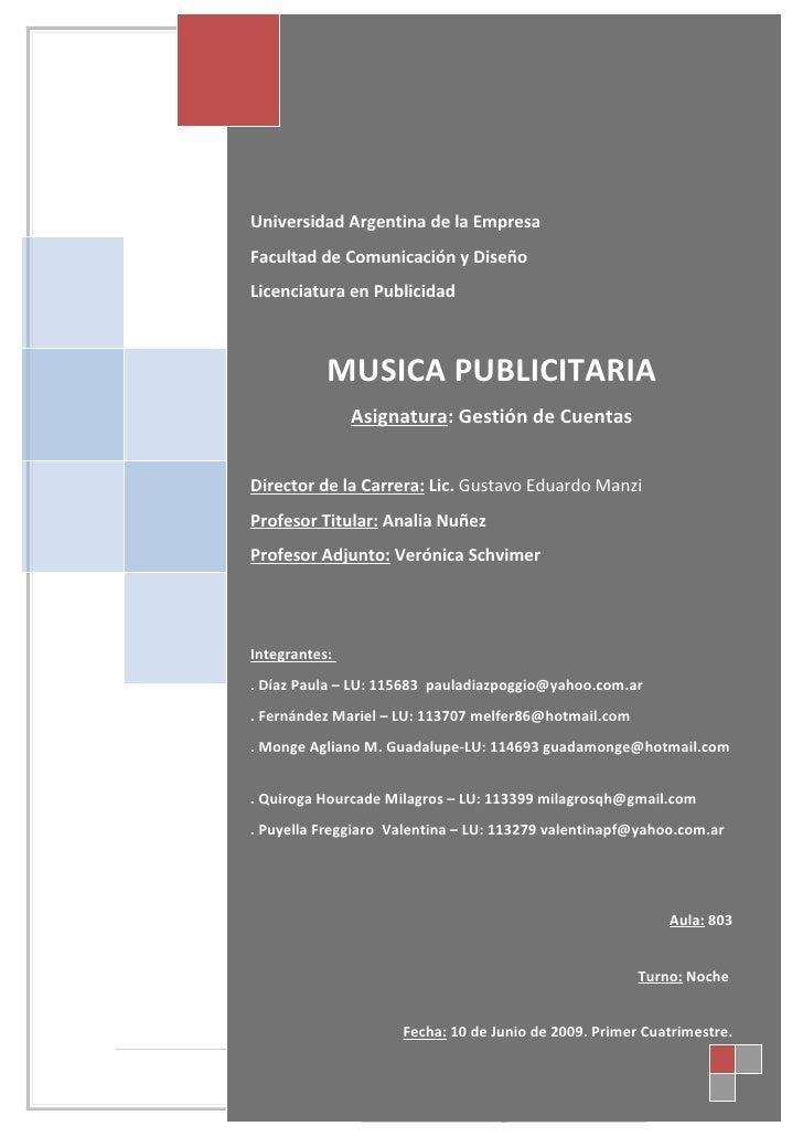 Musica Publicitaria  Final TURNO NOCHE