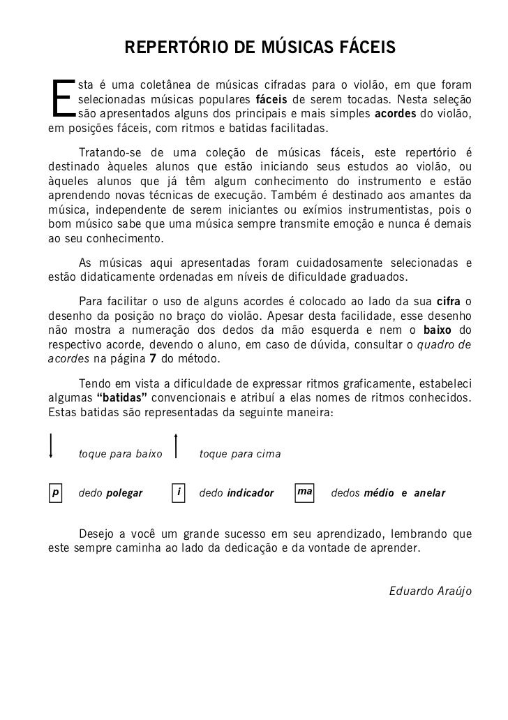 REPERTÓRIO DE MÚSICAS FÁCEISE    sta é uma coletânea de músicas cifradas para o violão, em que foram    selecionadas músic...