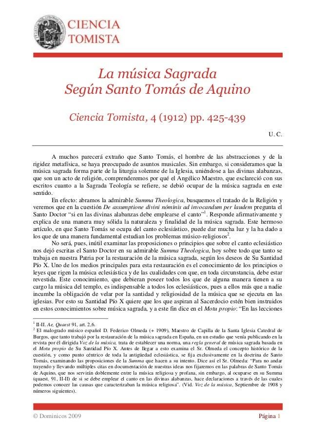 La música Sagrada               Según Santo Tomás de Aquino                 Ciencia Tomista, 4 (1912) pp. 425-439         ...