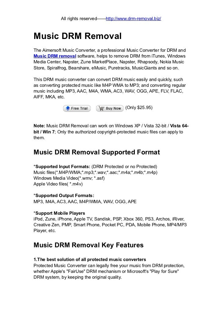 Music drm removal