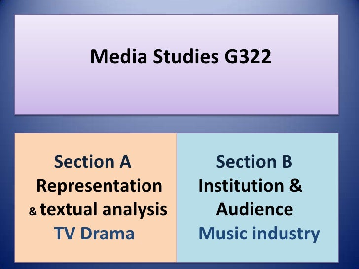 Media Studies G322    Section A          Section B Representation      Institution && textual analysis     Audience    TV ...