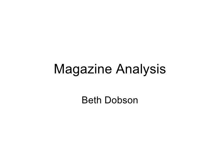 Magazine Analysis Beth Dobson