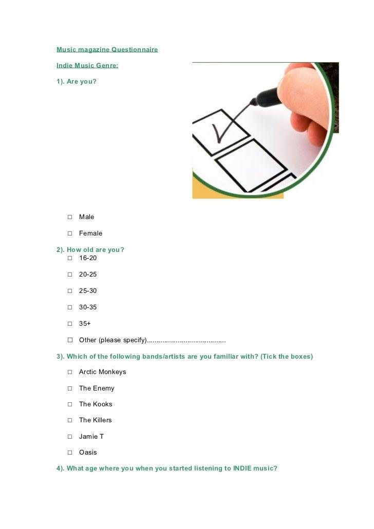 Music magazine questionnaire