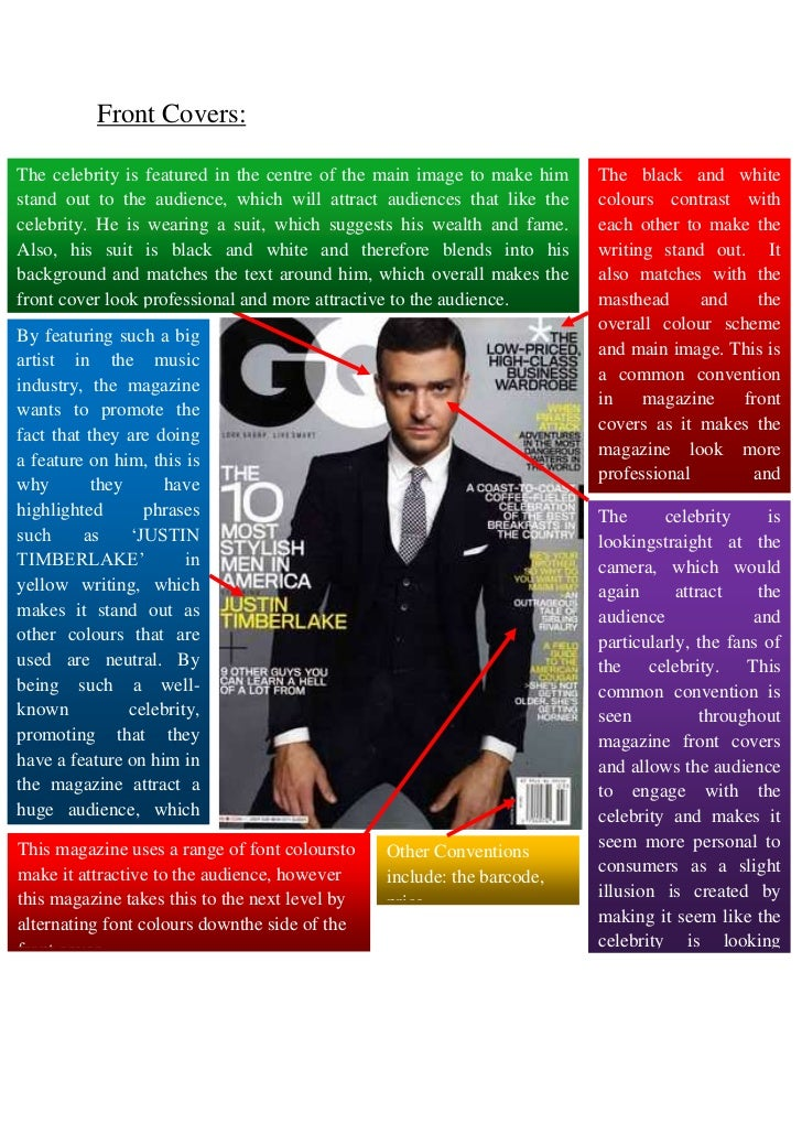 Front Covers:The celebrity is featured in the centre of the main image to make him   The black and whitestand out to the a...
