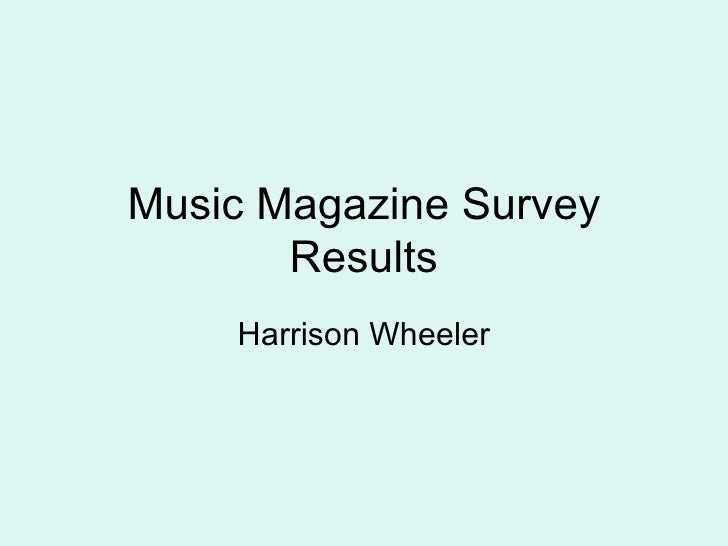Music Magazine Survey Results