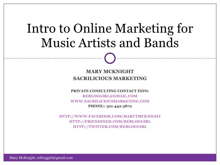 Introduction to Online Marketing for Musical Artists and Bands