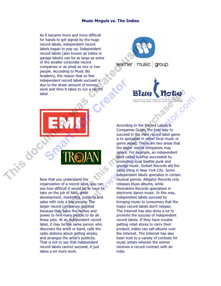 Music Moguls vs. The Indies   As it became more and more difficult for bands to get signed by the huge record labels, inde...
