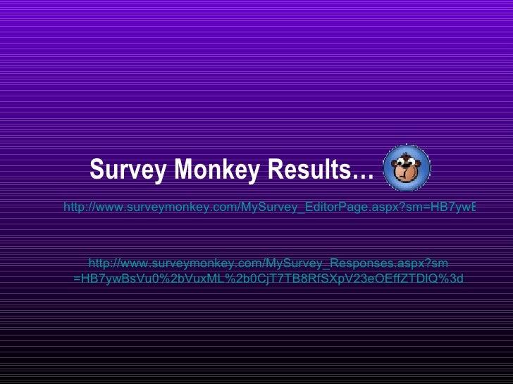 Survey Monkey Results… http://www.surveymonkey.com/MySurvey_EditorPage.aspx?sm=HB7ywBsVu0%2bVuxML%2b0CjT7TB8RfSXpV23eOEffZ...