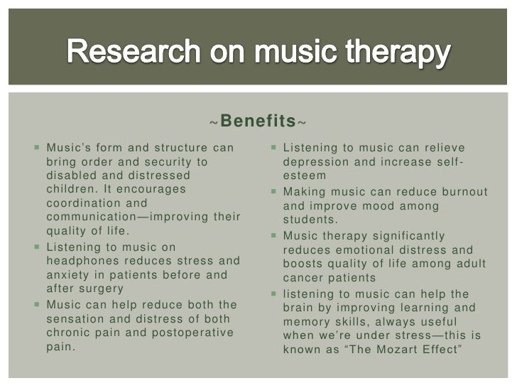 music therapy essay thesis Free essays on music therapy use our research documents to help you learn 1 - 25.