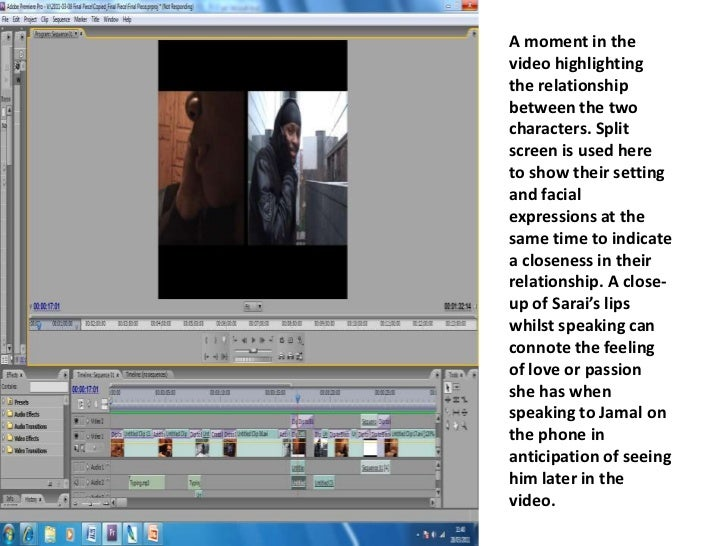 A moment in the video highlighting the relationship between the two characters. Split screen is used here to show their se...