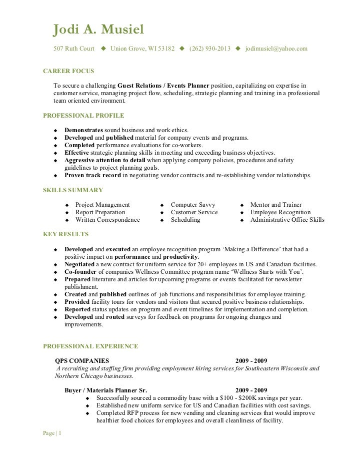 Guest relations manager resume
