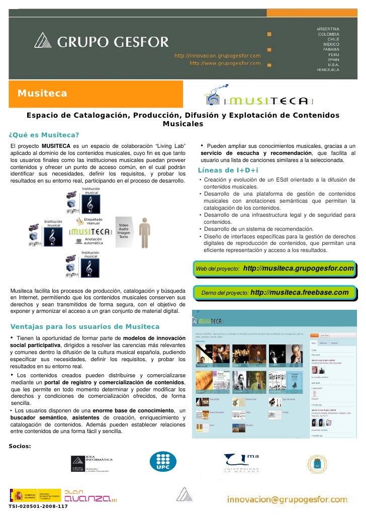Musiteca         Espacio de Catalogación, Producción, Difusión y Explotación de Contenidos                                ...