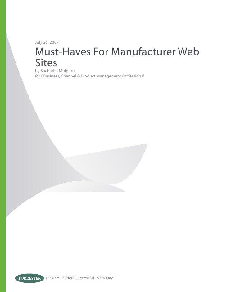 Must-Haves For Manufacturer Websites