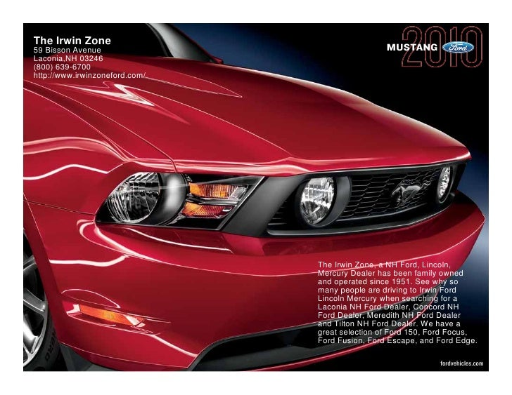 The Irwin Zone 59 Bisson Avenue                                 MUSTANG Laconia,NH 03246 (800) 639-6700 http://www.irwinzo...