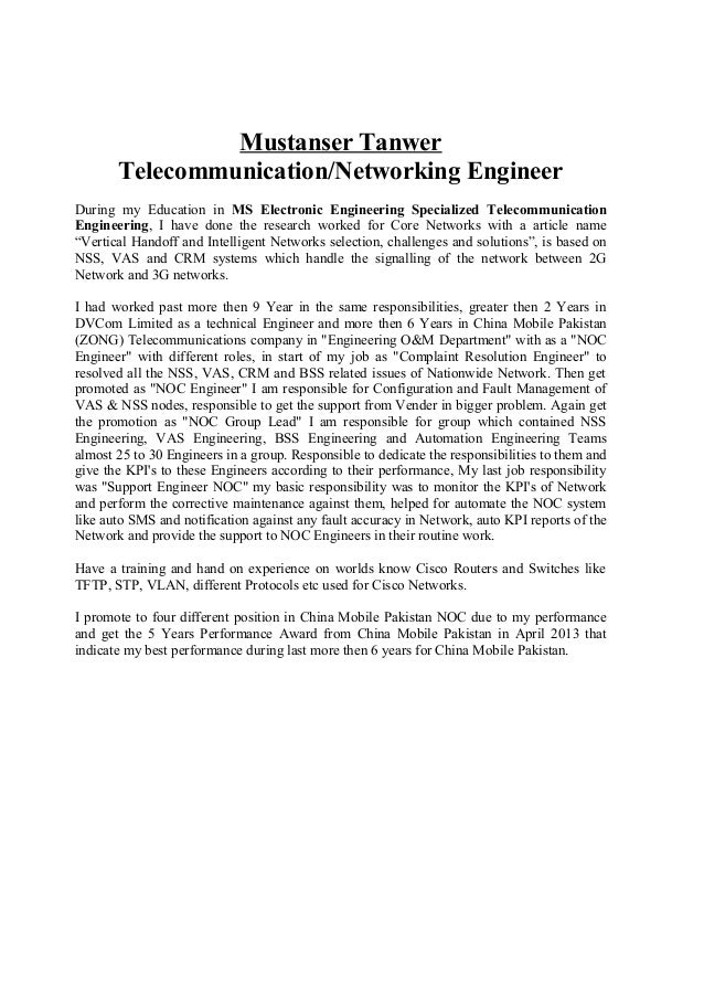 telecommunication engineer cv
