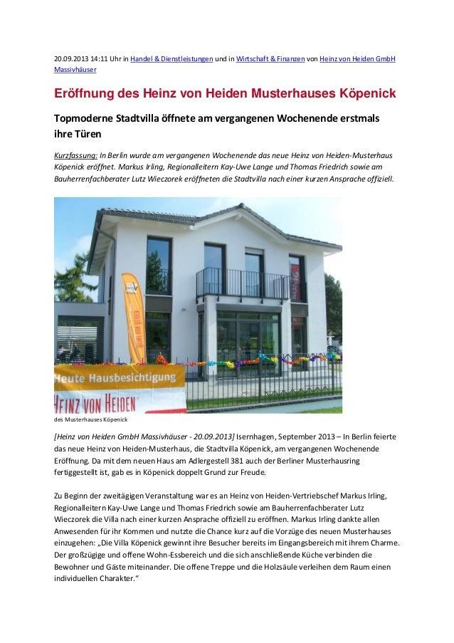 20.09.2013 14:11 Uhr in Handel & Dienstleistungen und in Wirtschaft & Finanzen von Heinz von Heiden GmbH Massivhäuser Eröf...