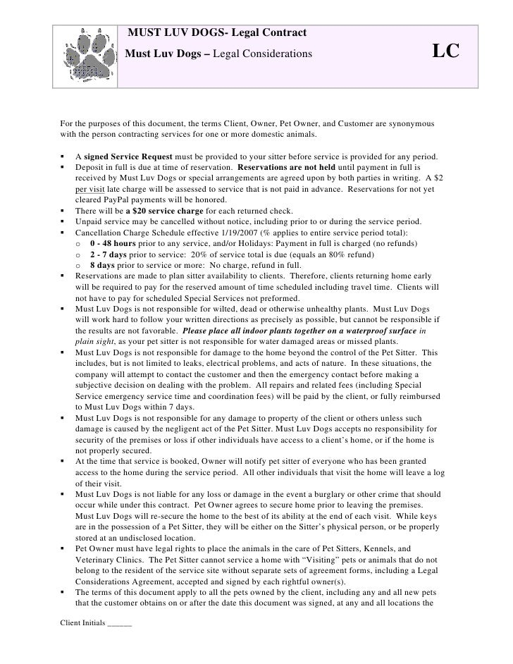 Must Luv Dogs Legal Contract Must Luv Dogs Legal Considerations