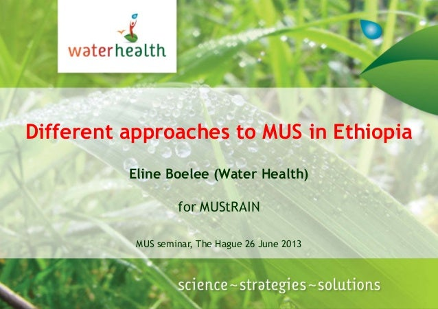 Different approaches to MUS in EthiopiaEline Boelee (Water Health)for MUStRAINMUS seminar, The Hague 26 June 2013