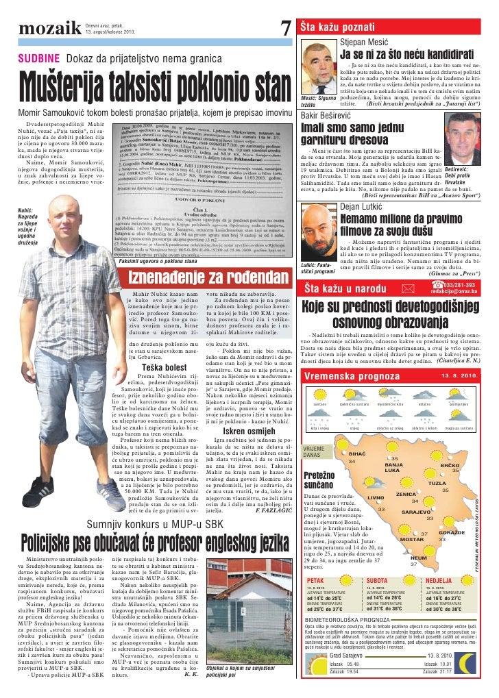 mozaik                      Dnevni avaz, petak,                             13. avgust/kolovoz 2010.                      ...