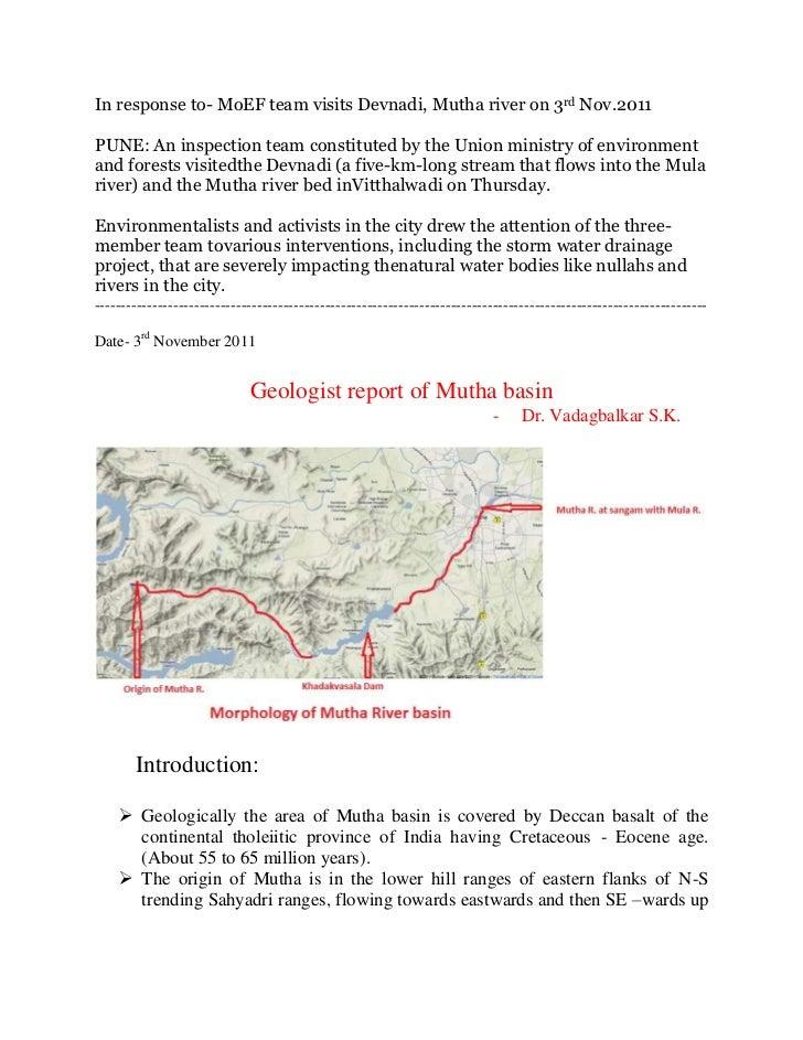 Mutha river basin report by dr.vadagbalkar