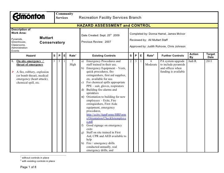 Facility Assessment Services : Muttart hazard assessment