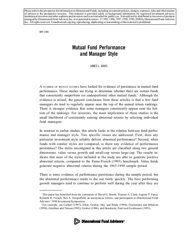 Mutual fund performance and manager style by james l. davis(11)