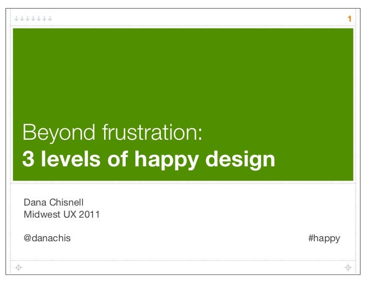 1Beyond frustration:3 levels of happy designDana ChisnellMidwest UX 2011@danachis                  #happy