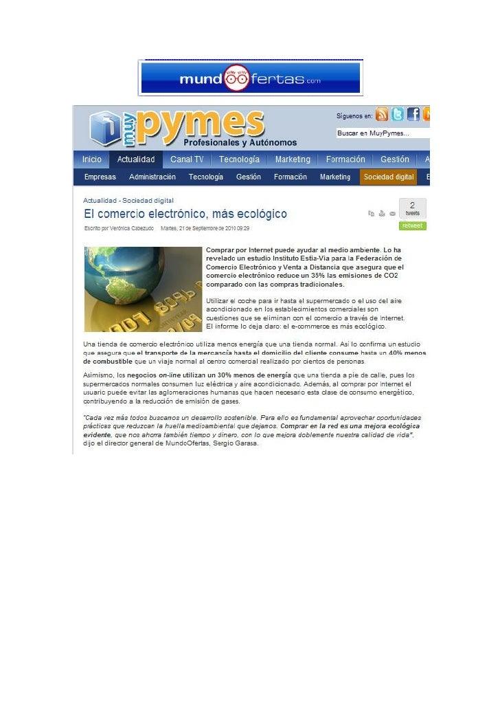 """MundoOfertas en Muypymes """"La Compra Online Reduce Las Emisiones de Co2 en Un 35%"""""""