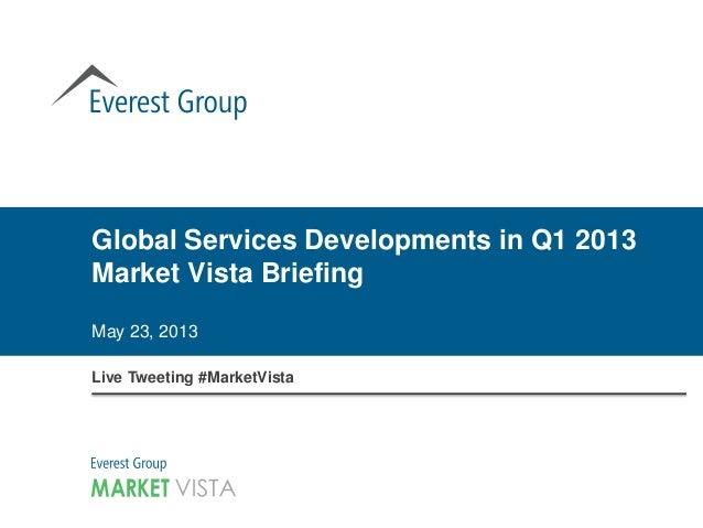 Global Services Developments in Q1 2013Market Vista BriefingMay 23, 2013Live Tweeting #MarketVista
