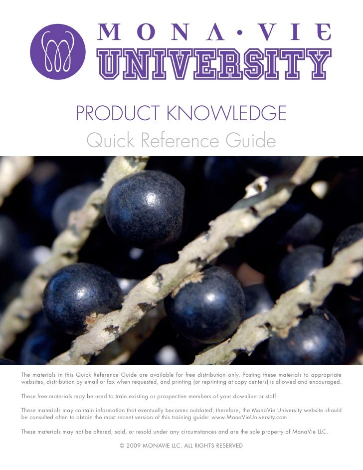 PRODUCT KNOWLEDGE                       Quick Reference Guide     The materials in this Quick Reference Guide are availabl...