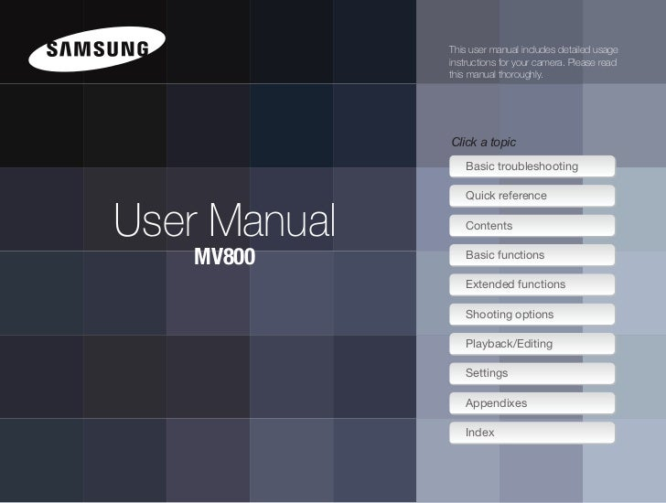 Samsung Digital Camera MV800 User Manual
