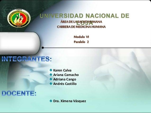 Karen Calva Ariana Camacho Adriana Cango Andrés Castillo Dra. Ximena Vásquez