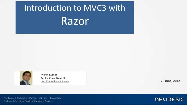 Introduction to ASP.Net Mvc3 with Razor