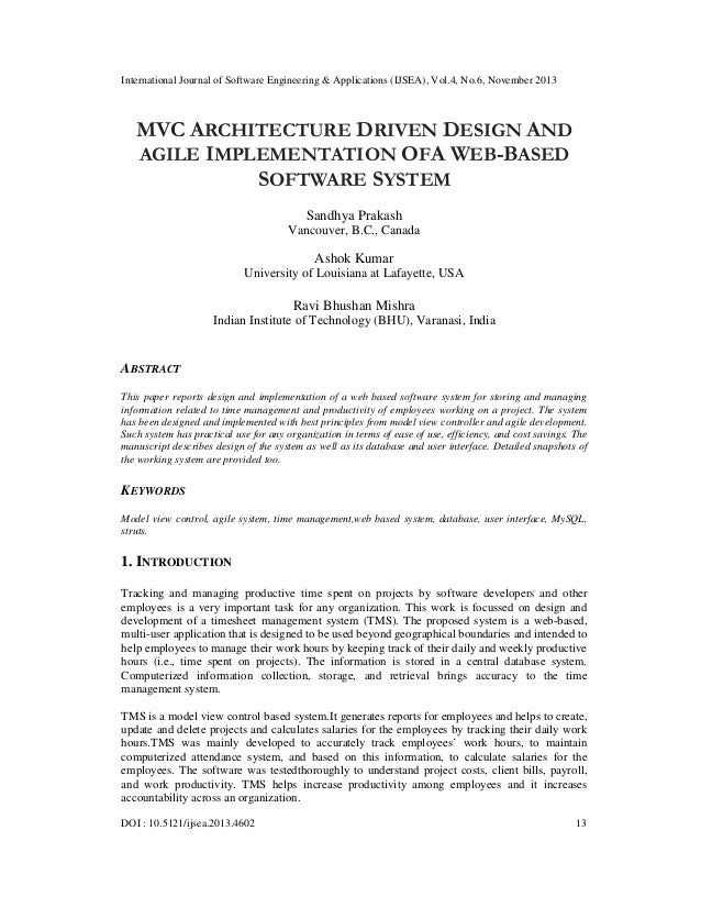 Mvc architecture driven design and agile implementation of a web based software system