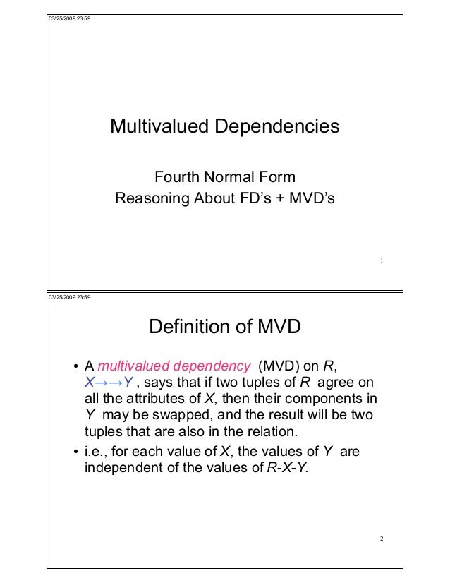 03/25/2009 23:59                   Multivalued Dependencies                       Fourth Normal Form                   Rea...