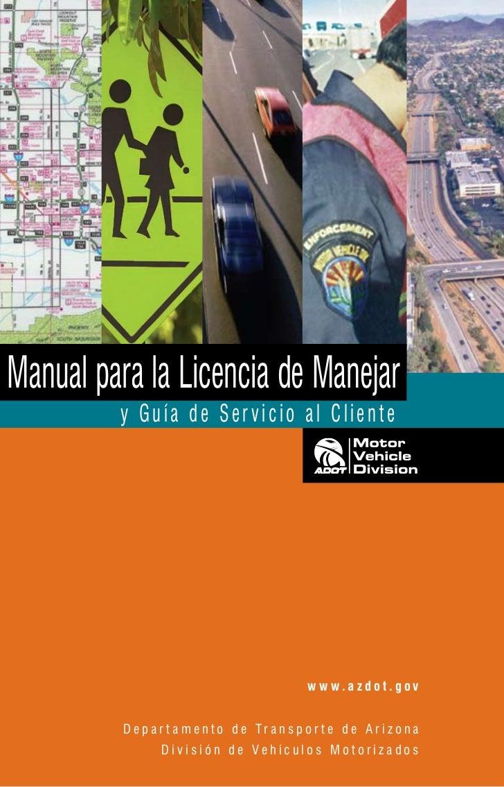 Manual para la Licencia de Manejar       y Guía de Ser vicio al Cliente                                                 ...