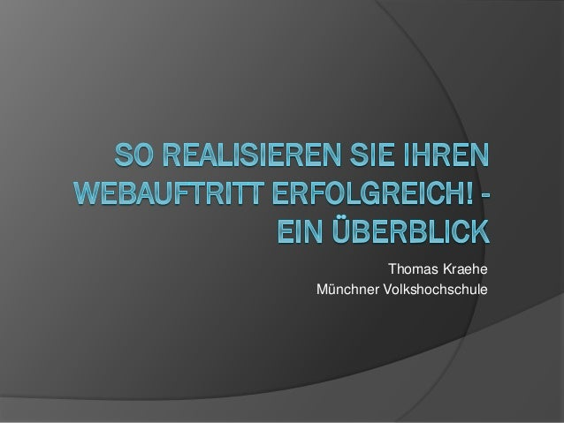 Thomas Kraehe Münchner Volkshochschule