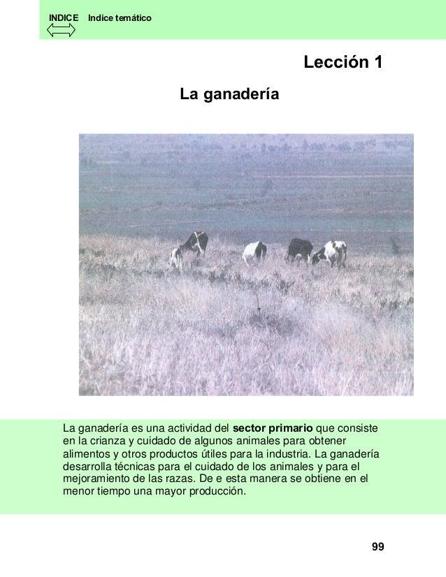 INDICE  Indice temático  Lección 1 La ganadería  La ganadería es una actividad del sector primario que consiste en la cria...