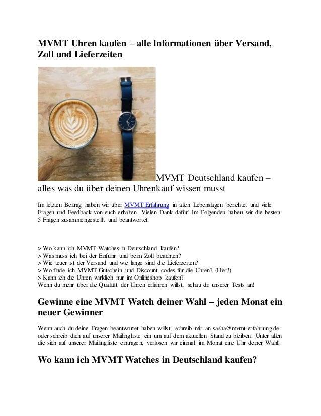 MVMT Uhren kaufen – alle Informationen über Versand, Zoll und Lieferzeiten MVMT Deutschland kaufen – alles was du über dei...