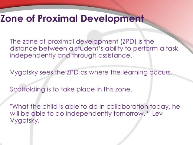 vygotskys zone of proximal development essay There is a consensus that the notion of the zone of proximal development and socio-cultural theory of mind based on vygotsky's ideas are at the heart of the notion of scaffolding this study highlights the limitations of the metaphor of scaffolding in interpreting the zone of proximal development.