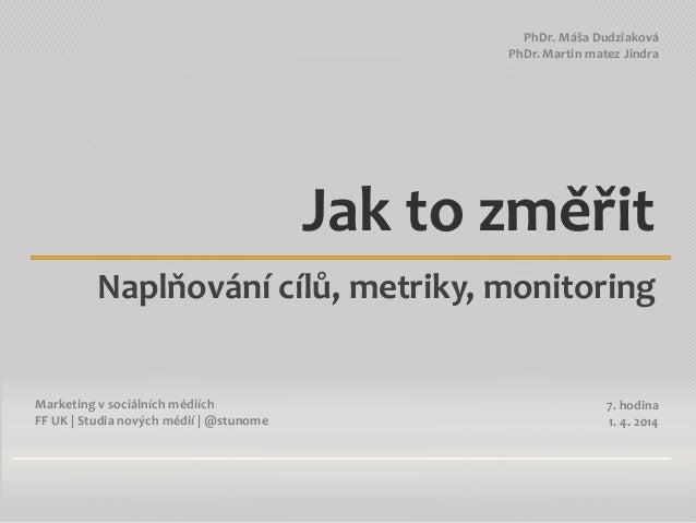 MvSM 2014: 7) Cíle, metriky a monitoring v SM
