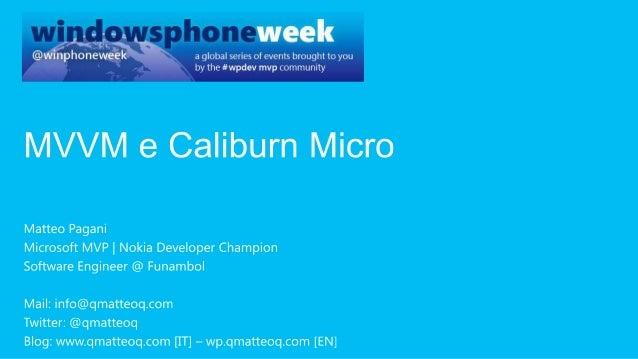 MVVM e Caliburn Micro for Windows Phone applications
