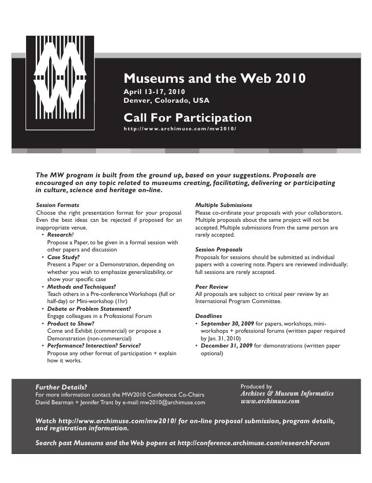Museums and the Web 2010                                   April 13-17, 2010                                   Denver, Col...
