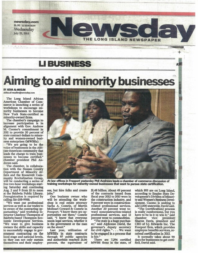 "~.cem~ $L5O tUEI)'f(lON Wednesday JUly 23.. 2014 ... ':~ C-.-liI""'; + ~ LIBUSINESS iAimingto aid minority businesses -BYAI..."