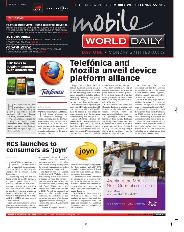 MOBILE WORLD DAILY EXPLORES ANNE BOUVEROT'S VISION FOR      THE ASSOCIATION, REVEALING ITS MAJOR AREAS OF FOCUS TODAY     ...