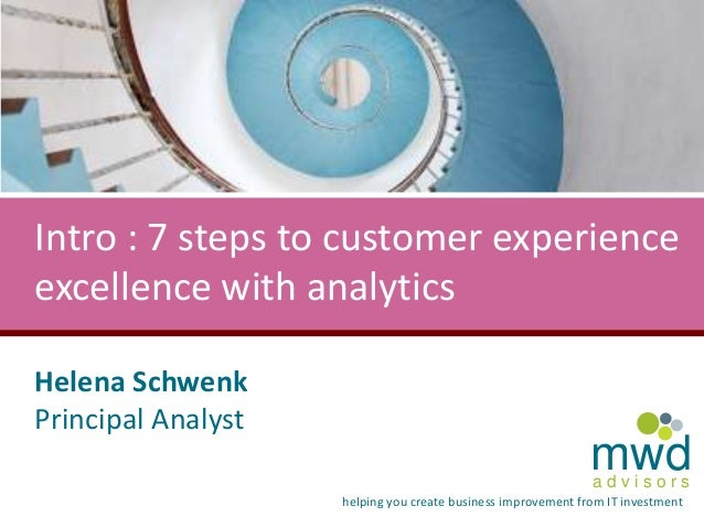 Intro : 7 steps to customer experience excellence with analytics Helena Schwenk Principal Analyst  mwd advisors  helping y...