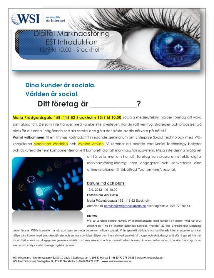Inbjudan Digital Marknadsföring EST Introduktion - kostnadsfritt inledande seminarie