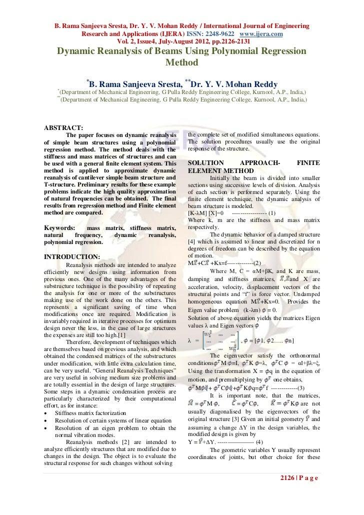 B. Rama Sanjeeva Sresta, Dr. Y. V. Mohan Reddy / International Journal of Engineering            Research and Applications...