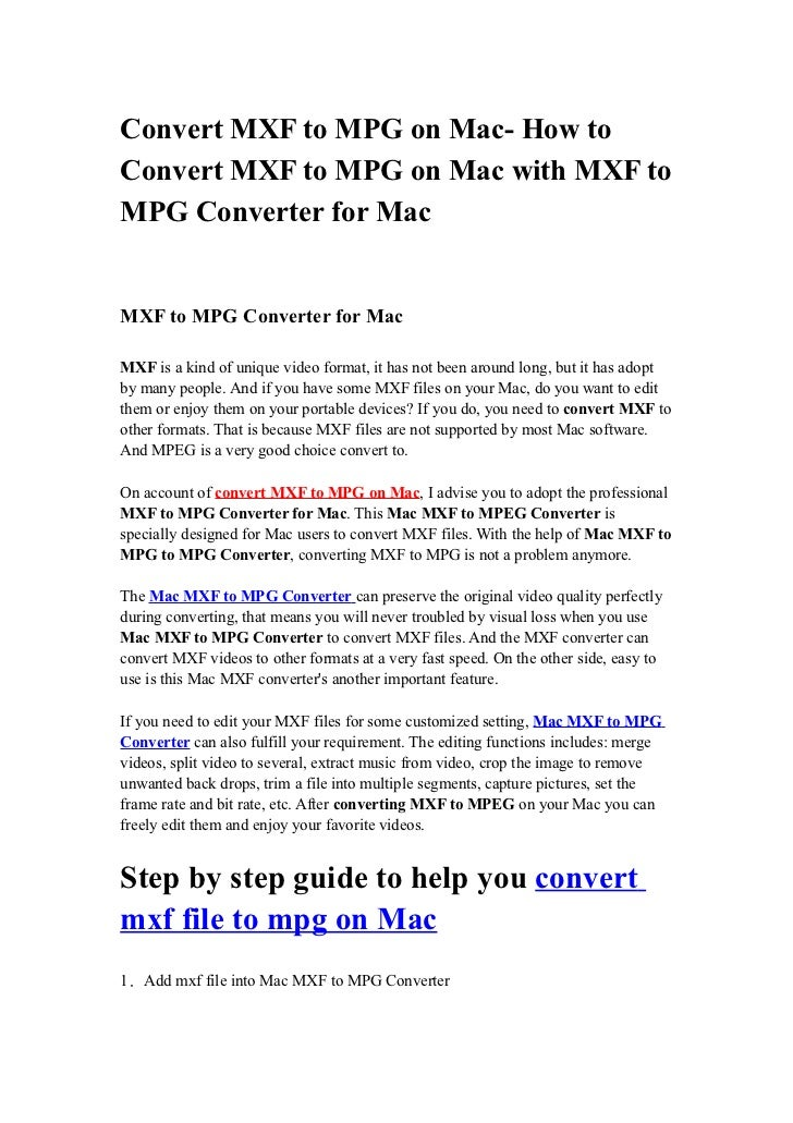 Mxf to mpg