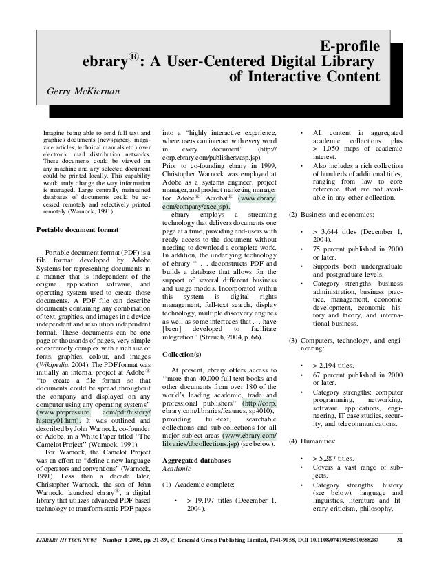 E-profile ebrary1 : A User-Centered Digital Library of Interactive Content Gerry McKiernan LIBRARY HI TECH NEWS Number 1 2...